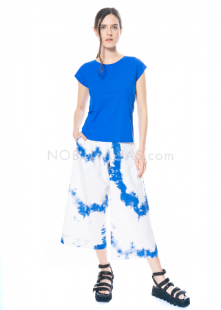 yukai, pants with blue print made of cotton