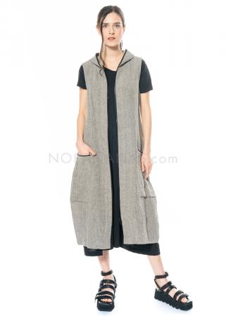 yukai, linen full length zipper dress