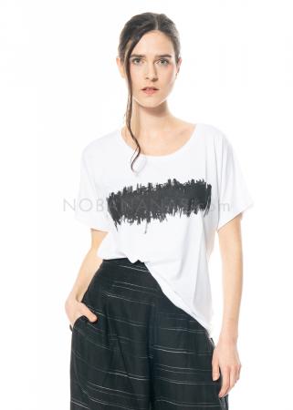 yukai, weißes Shirt aus Jersey mit Print