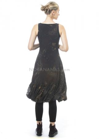 RUNDHOLZ, ärmelloses Kleid mit Volants und Print 2201050904