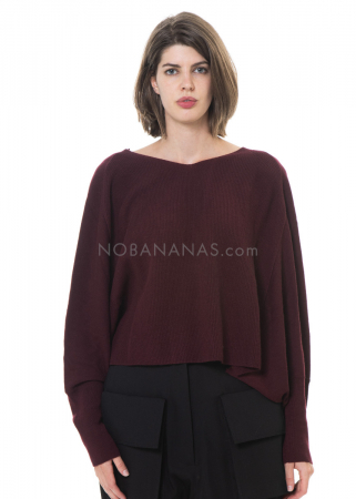 RUNDHOLZ, cropped oversized knitted tunic from virgin wool 2201377001