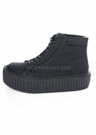 RUNDHOLZ, hoher Textil-Sneaker mit Plateau-Sohle 1211465281