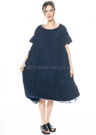 RUNDHOLZ DIP, zweilagiges Kleid mit geknöpften Taschen 1212260902