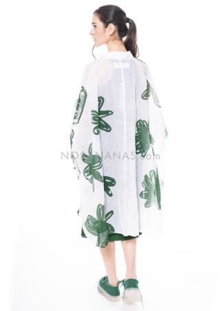 RUNDHOLZ DIP, transparentes One Size Hemdblusenkleid mit Blumen-Print 1212310908