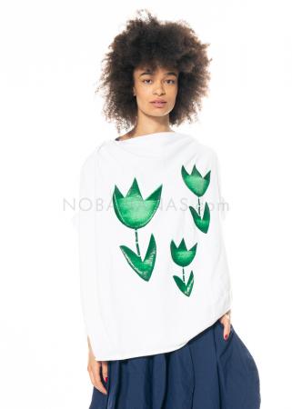 RUNDHOLZ DIP, weißes ballonförmiges T-Shirt mit Lack-Print 1212420523