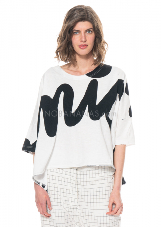 RUNDHOLZ BLACK LABEL, kastiges T-Shirt aus Baumwolle mit Print 1213640502