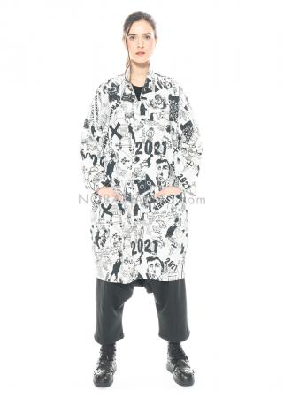 PAL OFFNER, oversized Mantel aus Popelin-Stretch mit Scribble-Print