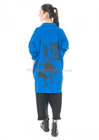 PAL OFFNER, blaue oversized Bluse aus Popelin-Stretch mit Rückenprint