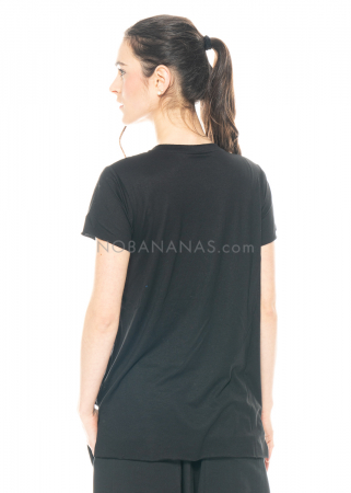 PAL OFFNER, schwarzes schmal geschnittenes Basic-Shirt