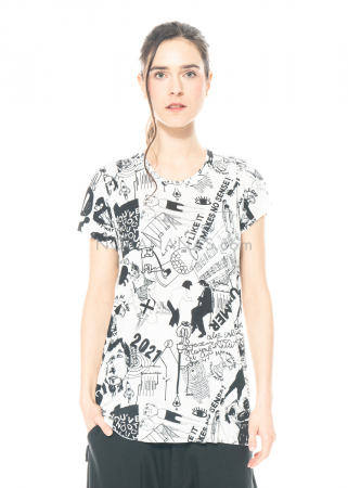 PAL OFFNER, schmal geschnittenes T-Shirt mit Scribble Print