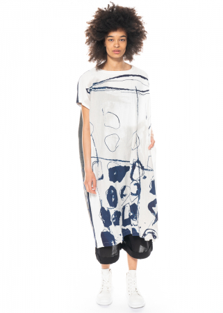 Moyuru, lockeres Kleid mit blauem Print 211407