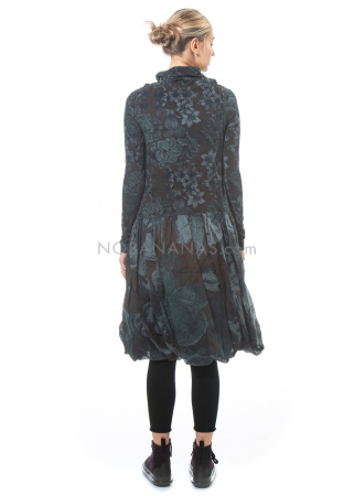 RUNDHOLZ, langärmliges Kleid mit Volants und Print 2201050901