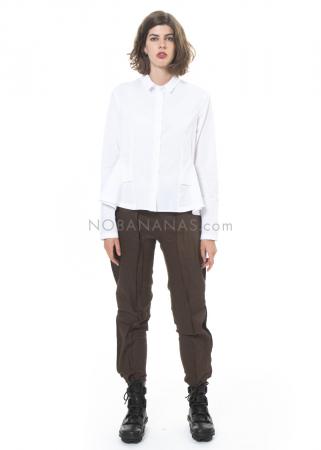 RUNDHOLZ, schmale Hose aus Baumwoll-Leinen-Mix mit Applikationen 2201200108