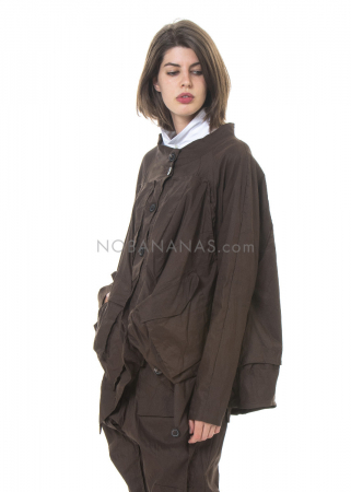 RUNDHOLZ, oversized Jacke aus Baumwoll-Leinen-Mix mit Applikationen 2201201109