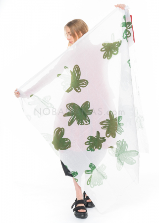 RUNDHOLZ DIP, big scarf with flower print 1212311411