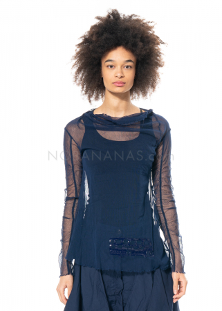 RUNDHOLZ DIP, long-sleeved tulle shirt with glossy print 1212550514
