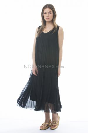 pas de calais, pleated summer dress black 13-00-4001