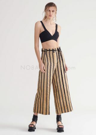 SYMETRIA, verkürzte und lässig geschnittene Hose in Streifendesign