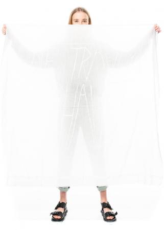 annette görtz, Seide-Woll-Schal Dream mit Druck inspiriert von Egon Schiele