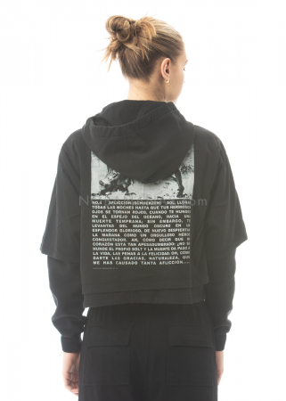 DRKSHDW by Rick Owens, verkürztes Sweatshirt mit Kapuze und Print hinten black/pearl