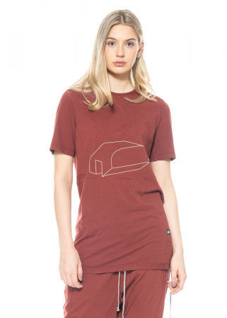 DRKSHDW by Rick Owens, T-Shirt Level mit grafischem Print in Dark Cherry/Pearl