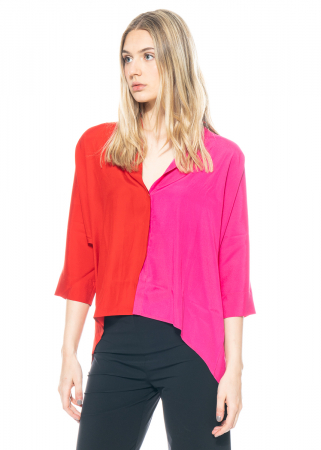 austriandesign, two-colored silk blouse with spandex content
