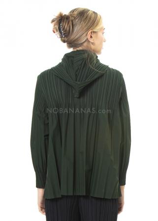 PLEATS PLEASE ISSEY MIYAKE, leichte Jacke mit Kapuze in Moosgrün