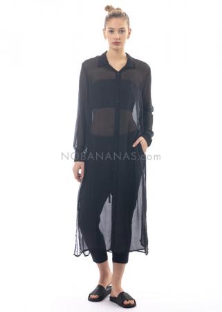 LA HAINE INSIDE US, langes Seidenhemd Juana schwarz