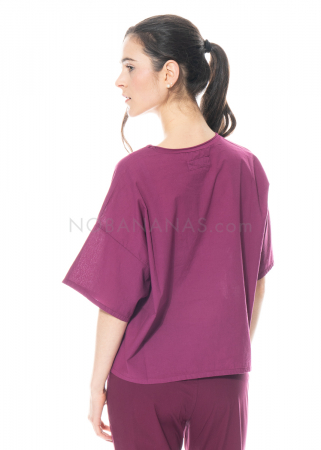 LABO.ART, Kurzarm-Sweatshirt Maglia Frida Neve plum