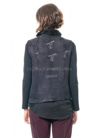 NEWyesterday, Vintage Leder-Weste mit Jeans-Detail
