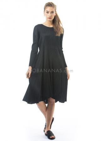 PLEATS PLEASE ISSEY MIYAKE, langärmeliges Kleid mit Raffung in Schwarz