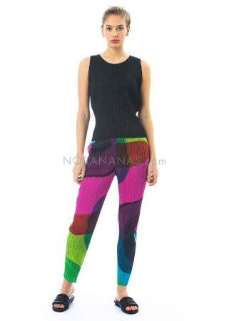 PLEATS PLEASE ISSEY MIYAKE, schmale Hose mit farbenfrohem Print