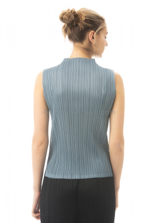 PLEATS PLEASE ISSEY MIYAKE, sleeveless top with stand-up collar in pigeon blue