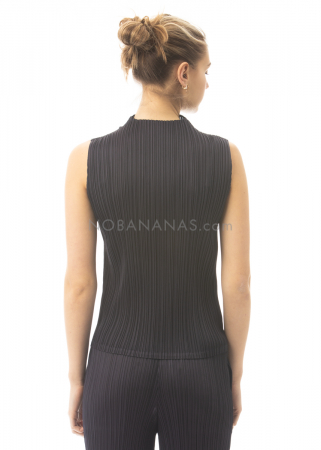 PLEATS PLEASE ISSEY MIYAKE, sleeveless top with stand-up collar in dark blue