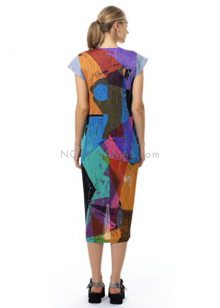 PLEATS PLEASE ISSEY MIYAKE, sleeveless vest with colorful print