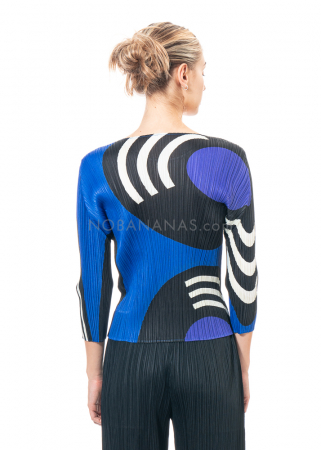 PLEATS PLEASE ISSEY MIYAKE, long sleeve shirt with print in sapphire