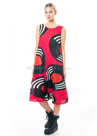 PLEATS PLEASE ISSEY MIYAKE, langes ärmelloses Kleid mit Print in Magenta
