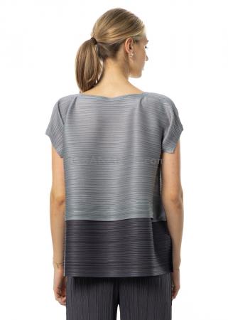 PLEATS PLEASE ISSEY MIYAKE, dark two-tone shirt with drawstring