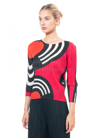 PLEATS PLEASE ISSEY MIYAKE, long sleeve shirt with print in magenta