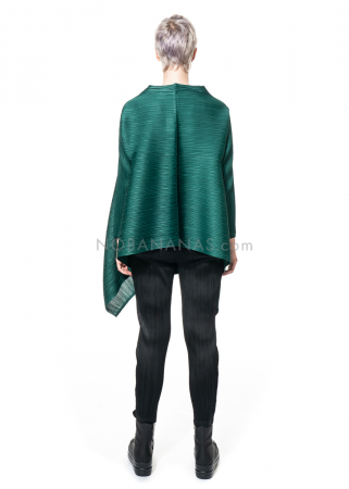 PLEATS PLEASE ISSEY MIYAKE, coat with extended front in dark green