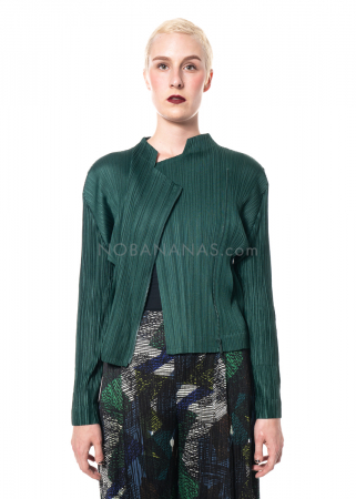 PLEATS PLEASE ISSEY MIYAKE, biker jacket in dark green