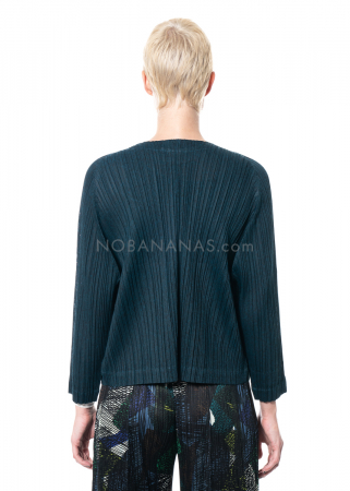PLEATS PLEASE ISSEY MIYAKE, minimalistische kurze Jacke in Dunkelgrün