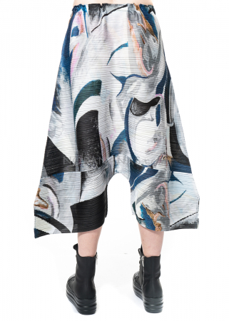 PLEATS PLEASE ISSEY MIYAKE, pants with marble print in blue