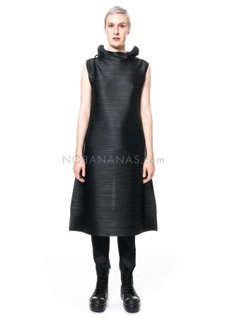 PLEATS PLEASE ISSEY MIYAKE, ärmelloses Kleid mit Stehkragen in Schwarz