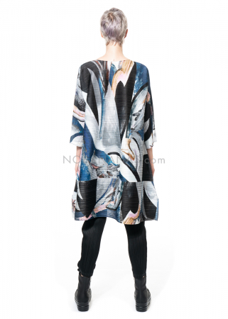 PLEATS PLEASE ISSEY MIYAKE, tunic dress with marble print in blue