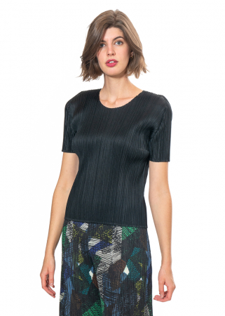 PLEATS PLEASE ISSEY MIYAKE, basic shirt with short sleeves in black
