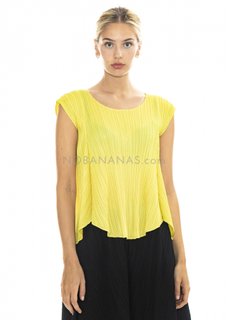 PLEATS PLEASE ISSEY MIYAKE, flared shirt in lemon