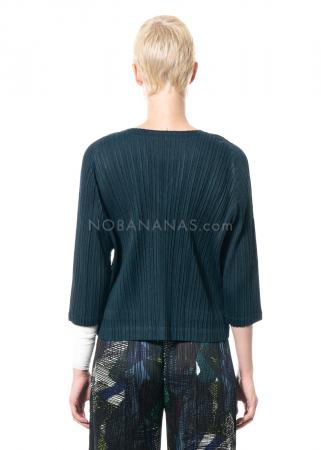 PLEATS PLEASE ISSEY MIYAKE, Shirt mit V-Ausschnitt in Dunkelgrün