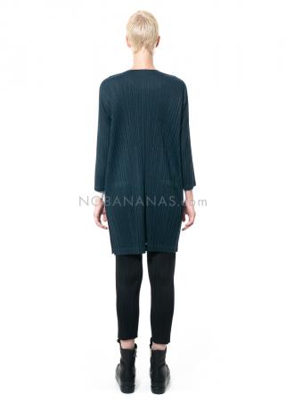PLEATS PLEASE ISSEY MIYAKE, Kleid mit spitzem Ausschnitt in Dunkelgrün