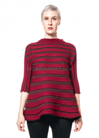 PLEATS PLEASE ISSEY MIYAKE, Strickshirt aus Wollmix in Bordeaux